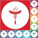 Icono de la salchicha de la barbacoa Fotografía de archivo libre de regalías