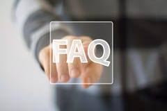 Icono de la señal de la conexión del FAQ de la muestra del botón del negocio fotografía de archivo