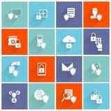 Icono de la seguridad de información plano stock de ilustración