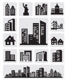 Icono de la silueta de las ciudades Imagenes de archivo