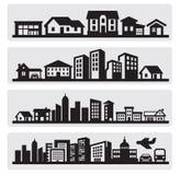 Icono de la silueta de las ciudades ilustración del vector