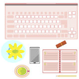 Icono de la tabla del ordenador de la mujer Fotografía de archivo libre de regalías