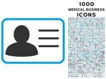 Icono de la tarjeta de cuenta con 1000 iconos médicos del negocio Imágenes de archivo libres de regalías