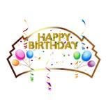 Icono de la tarjeta de felicitación del feliz cumpleaños Imagen de archivo
