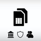 Icono de la tarjeta de Sim, ejemplo del vector Estilo plano del diseño Foto de archivo