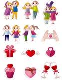 Icono de la tarjeta del día de San Valentín de la historieta Fotos de archivo libres de regalías