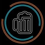 Icono de la taza de cerveza - símbolo del alcohol de la bebida - muestra de la barra ilustración del vector