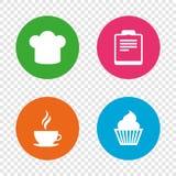 Icono de la taza de café Cocinero Hat Symbol Magdalena del mollete Fotografía de archivo