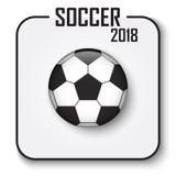 Icono de la taza 2018 del fútbol solo El fútbol convexo del estilo con la sombra en gris aisló el fondo Vector para el campeón in ilustración del vector