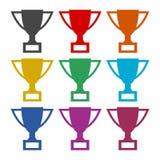 Icono de la taza del trofeo, iconos del color fijados Foto de archivo