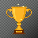 Icono de la taza de oro del vector aislado en fondo Fotos de archivo