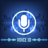 Icono de la tecnología de la identificación de la voz y fondo futurista stock de ilustración
