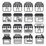 Icono de la tienda y de la tienda Foto de archivo libre de regalías