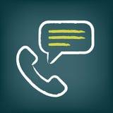 Icono de la tiza de la llamada de teléfono con la burbuja del discurso Fotos de archivo libres de regalías