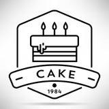 Icono de la torta de cumpleaños del vector con estilo linear stock de ilustración