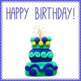 Icono de la torta de cumpleaños del plasticine Foto de archivo libre de regalías