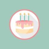 Icono de la torta de cumpleaños del vector Fotos de archivo libres de regalías