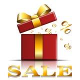 Icono de la venta de la caja de regalo Sorprenda la actual plantilla roja, arco de la cinta del oro, fondo blanco aislado Giftbox libre illustration