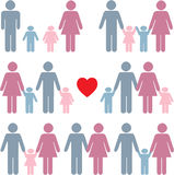 Icono de la vida familiar fijado en color Imagen de archivo libre de regalías