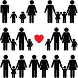 Icono de la vida familiar fijado en negro Fotos de archivo libres de regalías