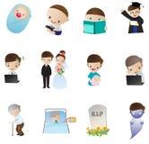 Icono de la vida humana, del nacimiento a la muerte (vector) ilustración del vector