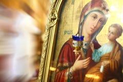 Icono de la Virgen Maria y del bebé Jesús Foto de archivo