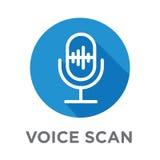 Icono de la voz superpuesta o del control por voz con imágenes de la onda acústica libre illustration