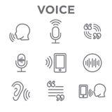 Icono de la voz superpuesta o del control por voz con imágenes de la onda acústica ilustración del vector