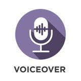 Icono de la voz superpuesta o del control por voz con imágenes de la onda acústica stock de ilustración