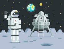 Icono de Landing Planet Lander del astronauta del cosmonauta en vector retro del diseño de la historieta de la tierra de la luna  Imágenes de archivo libres de regalías
