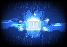 Icono de las actividades bancarias de Digitaces con concepto del fondo del circuito ilustración del vector