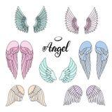 Icono de las alas del ángel con la mano que pone letras a ángel de la palabra libre illustration