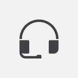 Icono de las auriculares, logotipo del vector, pictograma linear aislado en el blanco, ejemplo perfecto del pixel Fotos de archivo libres de regalías