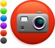 Icono de las cámaras digitales en el botón redondo del Internet Imágenes de archivo libres de regalías