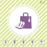 Icono de las compras con los zapatos del ` s del bolso y de la mujer stock de ilustración