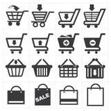 Icono de las compras de la cesta Fotografía de archivo