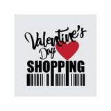 Icono de las compras del día del ` s de la tarjeta del día de San Valentín Foto de archivo libre de regalías