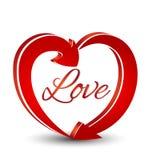 Icono de las flechas de la forma del corazón del amor Imagenes de archivo