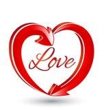 Icono de las flechas de la forma del corazón del amor Imagen de archivo libre de regalías
