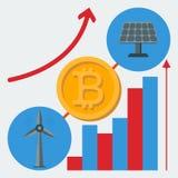 Icono de las fuentes de energía alternativas para la crypto-moneda de la mina stock de ilustración