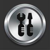 Icono de las herramientas en la colección metálica del botón Imagenes de archivo