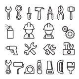 Icono de las herramientas fijado en la línea estilo fina Fotos de archivo