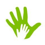 Icono de las manos del adulto y del niño stock de ilustración