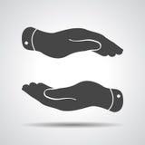 Icono de las manos que cuida Imagen de archivo