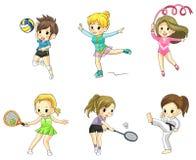 Icono de las muchachas del atleta de la historieta en el diverso tipo de spor Imagenes de archivo
