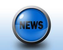 Icono de las noticias Botón brillante circular Fotos de archivo