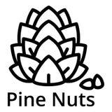Icono de las nueces de pino, estilo del esquema stock de ilustración