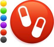 Icono de las píldoras en el botón redondo del Internet Fotografía de archivo libre de regalías