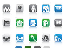 Icono de las propiedades inmobiliarias, serie cuadrada del botón Imagen de archivo