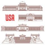 Icono de las señales del viaje de los E.E.U.U. de vistas arquitectónicas libre illustration